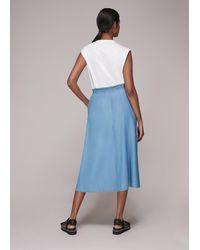 Whistles Denim Chambray Skirt - Blue