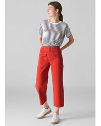 Whistles Carpenter Crop Trousers - Red