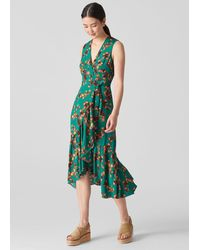 Whistles Capri Print Wrap Dress - Green