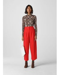 Whistles Sophie Pleat Front Peg Trouser - Red