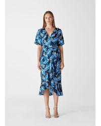 Whistles Josephine Print Wrap Dress - Blue