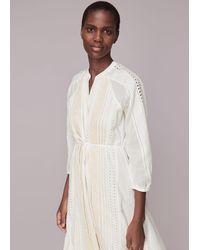 Whistles Cotton Embroidered Dress - White