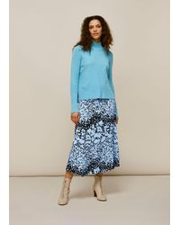 Whistles Floral Animal Button Skirt - Blue