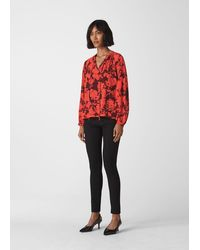 Whistles Tie Neck Print Blouse - Red