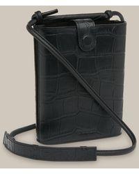 Whistles Alton Croc Pouch Bag - Black