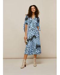 Whistles Floral Animal Neave Dress - Blue