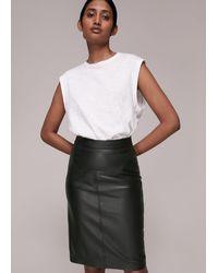 Whistles Kel Leather Pencil Skirt - Black