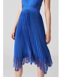 Whistles Lana Lace Pleat Dress - Blue