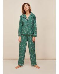 Whistles Heart Print Cotton Pyjama Set - Green