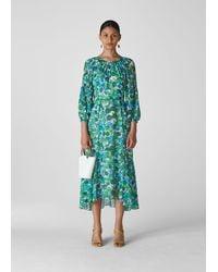 Whistles Alva Zinnia Floral Dress - Blue