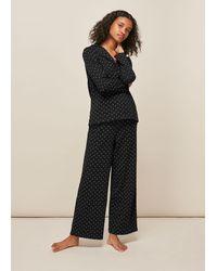 Whistles Spot Print Pyjama Set - Black