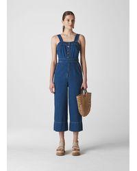 Whistles Tia Denim Button Detail Jumpsuit - Blue