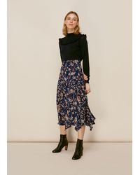 Whistles Prairie Blossom Print Skirt - Blue