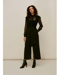 Whistles Mixed Lace Frill Jumpsuit - Black