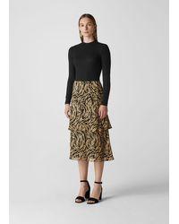 Whistles Reed Devore Silk Mix Skirt - Metallic