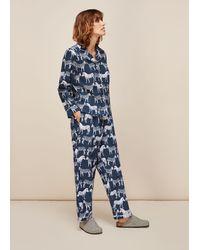 Whistles Zebra Print Cotton Pyjama Set - Blue