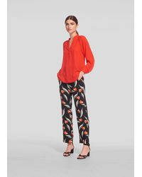 Whistles Tulip Print Trouser - Red