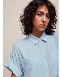 Whistles Textured Short Sleeve Blouse - Blue