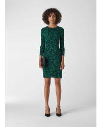 Whistles Block Floral Silk Bodycon - Green