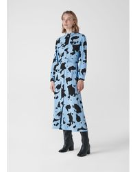 Whistles Cow Print Military Dress - Blue
