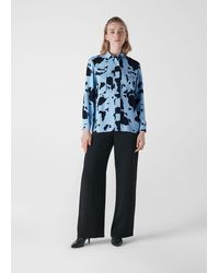 Whistles Cow Print Military Shirt - Blue