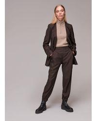 Whistles Mia Elastic Waist Wool Trouser - Brown