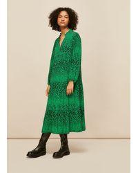Whistles Speckled Animal Enora Dress - Green