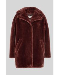 Whistles Faux Fur Cocoon Coat - Brown