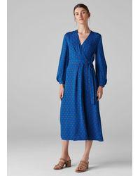 Whistles Maria Spot Silk Wrap Dress - Blue