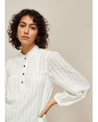 Whistles Joy Cotton Dobby Top - White