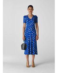 Whistles Scattered Daisy Print Midi Dress - Blue
