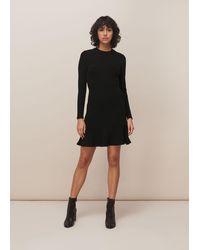 Whistles Ottoman Jersey Flippy Dress - Black