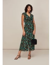 Whistles Forest Floral Print Jumpsuit - Green