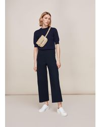 Whistles Cadie Side Button Trouser - Blue