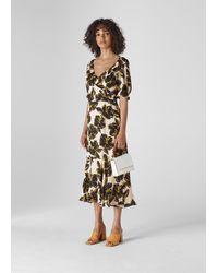 Whistles - Tropical Flower Silk Dress - Lyst