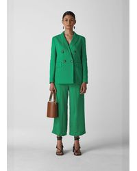 Whistles Linen Double Breasted Blazer - Green