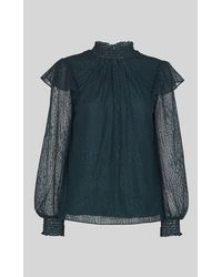 Whistles Eila Animal Lace Top - Green