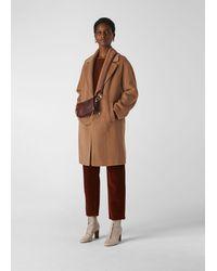 Whistles Mara Wool Drawn Cocoon Coat - Brown