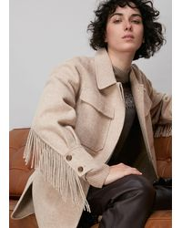 Whistles Fringe Detail Wool Overshirt - Natural