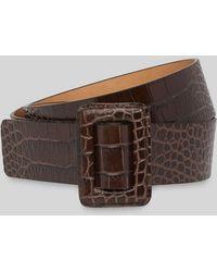 Whistles Croc Leather Belt - Brown