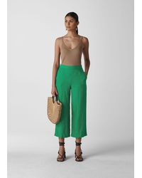 Whistles Linen Crop Wide Leg - Green