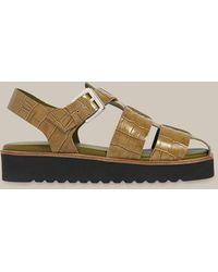 Whistles Kendra Croc Sandal - Green