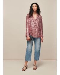 Whistles Sequin Double Breasted Blazer - Multicolor