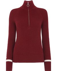 Whistles Rib Zip Front Chunky Knit - Red