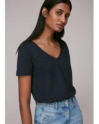 Whistles - Sophie V Neck Cotton T-shirt - Lyst
