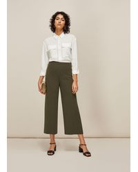 Whistles Flat Front Crop Trouser - Black