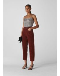 Whistles High Waist Cord Barrel Jean - Red