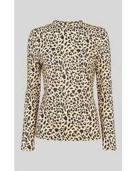 Whistles Brushed Cheetah Essential Top - Brown