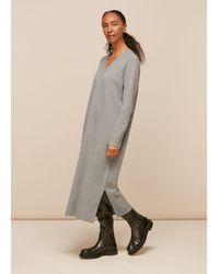 Whistles V Neck Knitted Dress - Grey