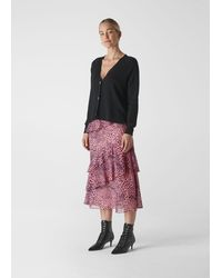 Whistles Wild Cat Tiered Skirt - Pink